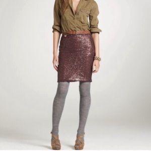 J Crew | Burgundy sequined pencil skirt 6